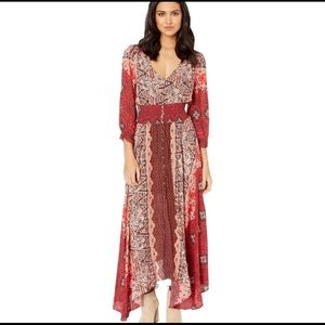 Free People Mexicali Rose Red Print Maxi Dress